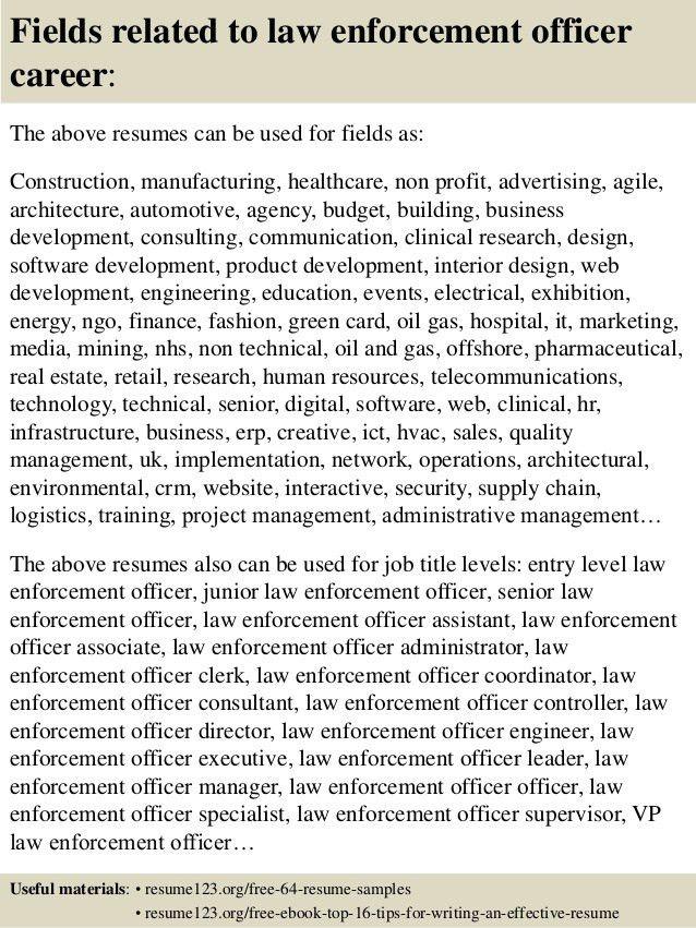 Top 8 law enforcement officer resume samples