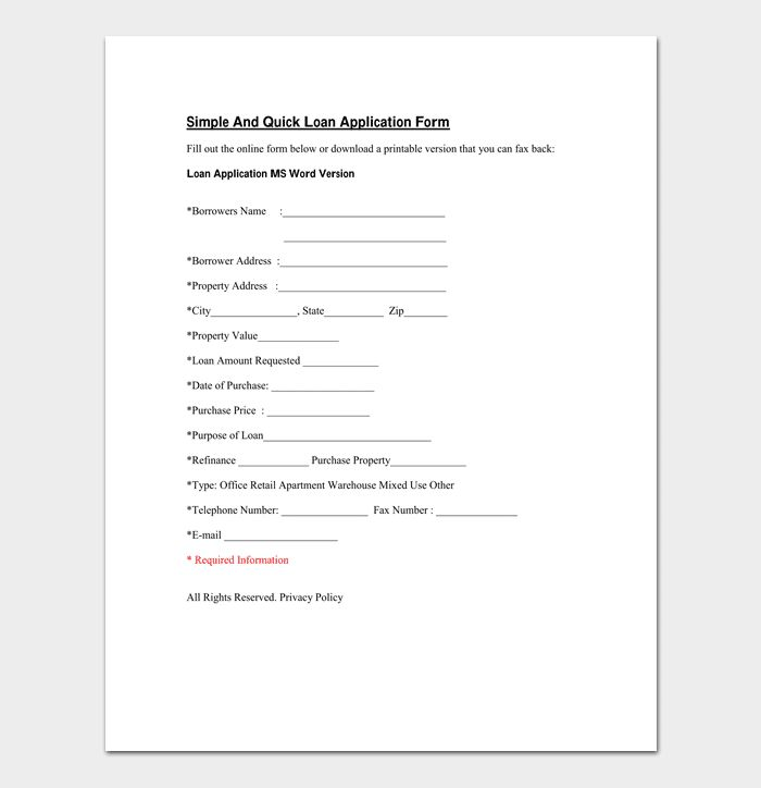 Mortgage Application Template - 4 Fillable Forms For Word, PDF