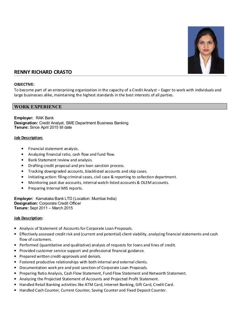 Credit Analyst Resume