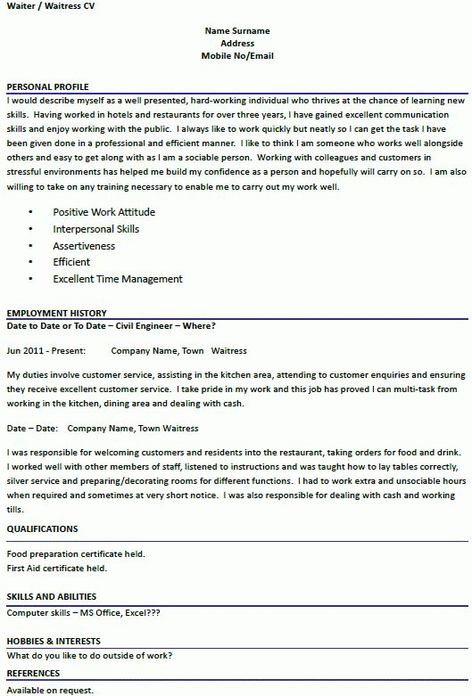 waiter resume resume sample cocktail waitress resume objective ...