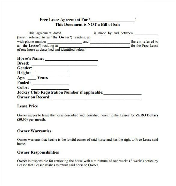 Horse Lease Agreement. 6+ Rent Contract | Printable Receipt Horse ...