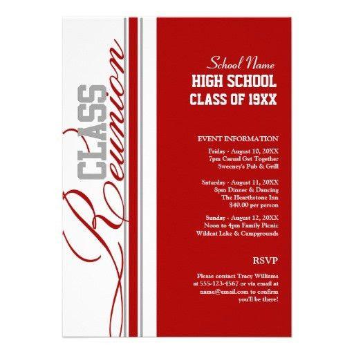 Blue Banner Class Reunion Invitation | 10 year class reunion ...