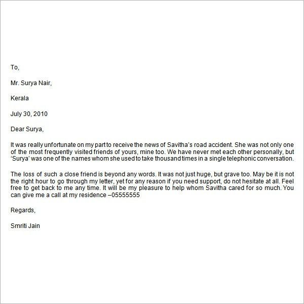 writing condolence letter   Docoments Ojazlink