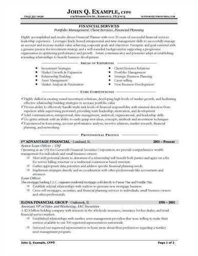 Sample resume for financial service representative