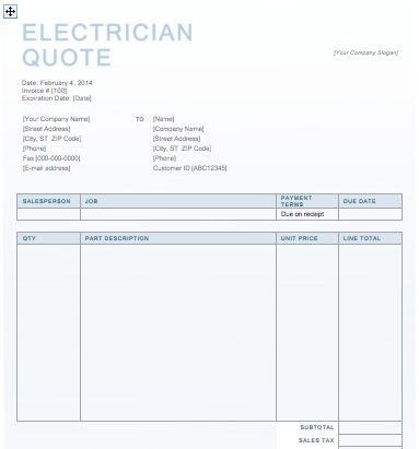 Electrician Quotation Template | Free Quotation Templates
