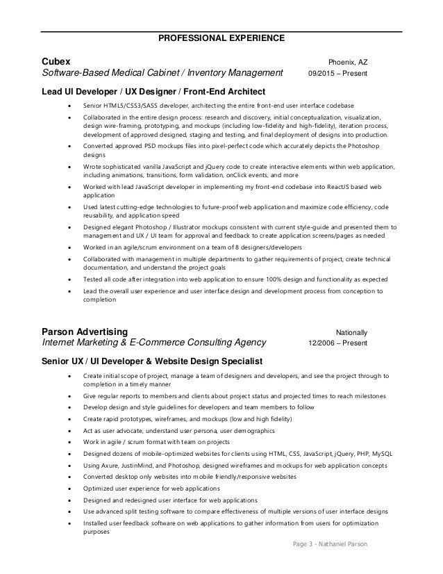 Ui Developer Resume Cover Letter - user experience consultant sample resume