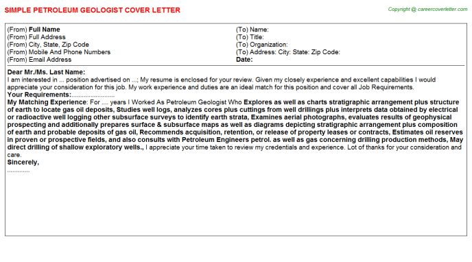 geology cover letter   Docoments Ojazlink