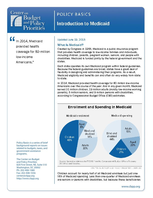 Policy Basics: Introduction to Medicaid | Center on Budget and ...