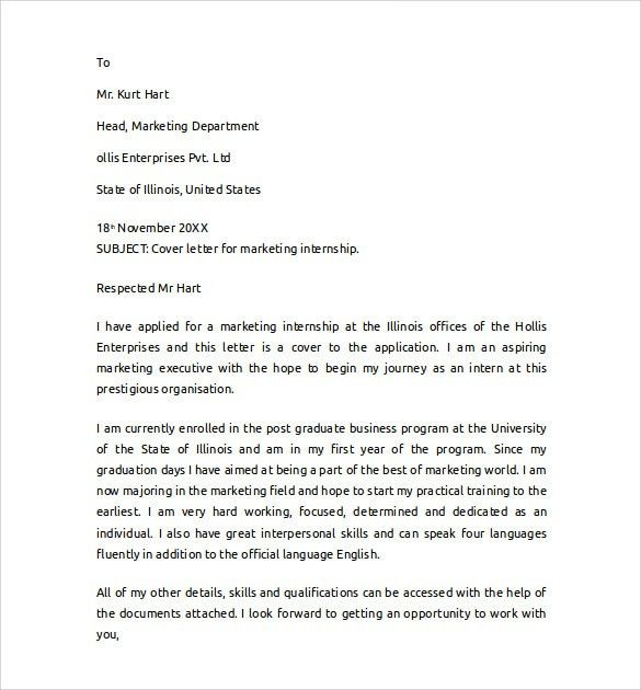 Cover Letter For Marketing Internship - My Document Blog
