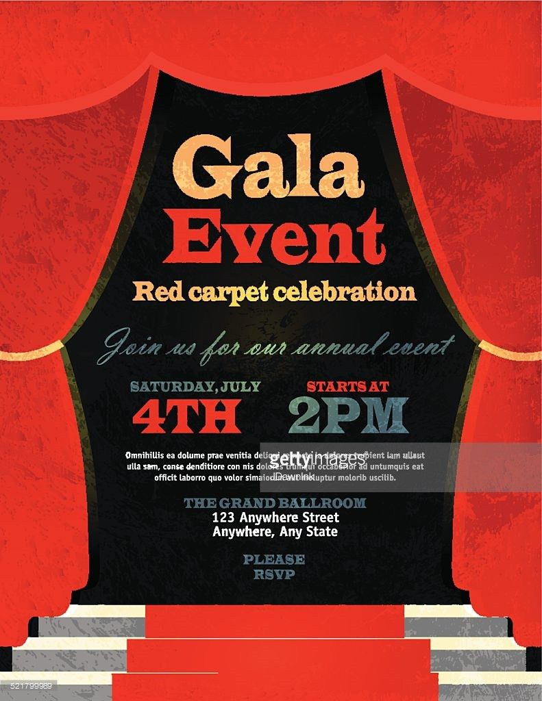 Charity Gala Invitation Design Template On Paper Background Vector ...