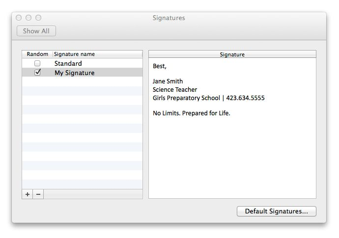 How to create or change your signature in Outlook for Mac 2011 ...