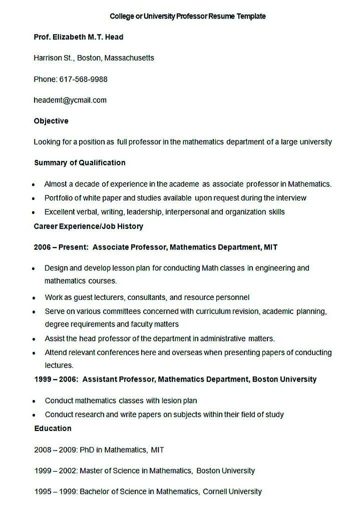 sample resume for assistant professor assistant professor resume