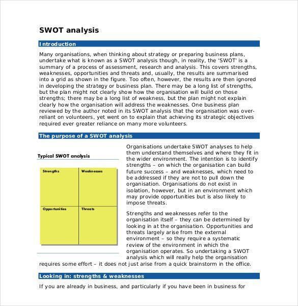 SWOT Analysis Template - 46+ Free Word, Excel, PDF | Free ...