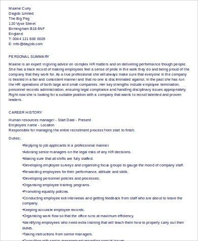 Human Resource Manager Resume - cv01.billybullock.us