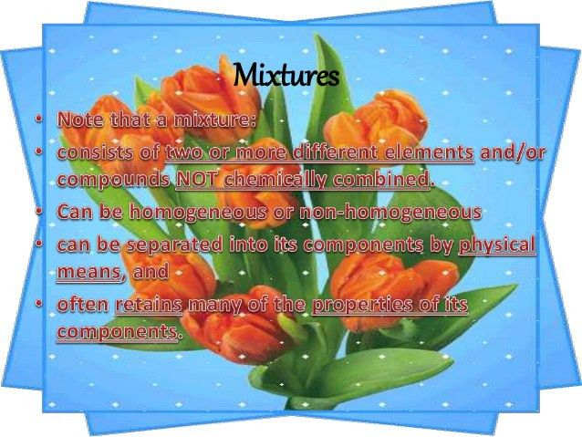 Elements, compound and mixture