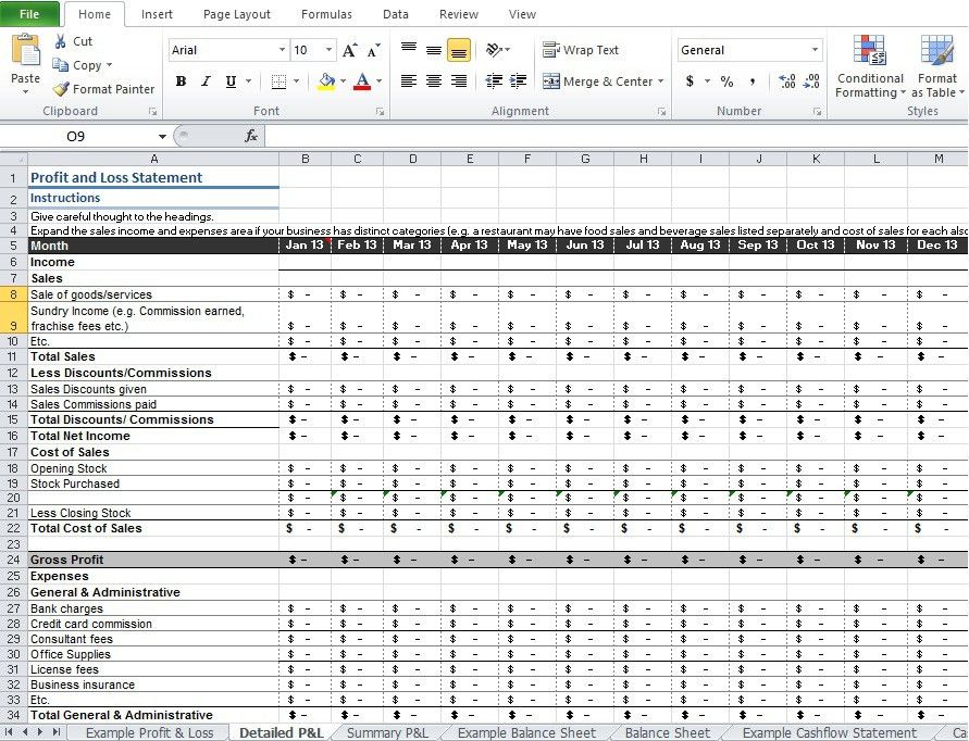 Restaurant Profit and Loss Statement Template Excel - Excel Tmp