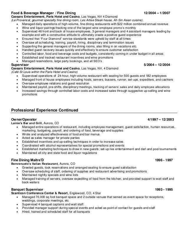 Expeditor Resume Restaurant - Corpedo.com