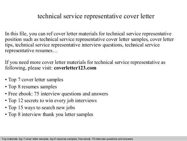 Technical service representative cover letter