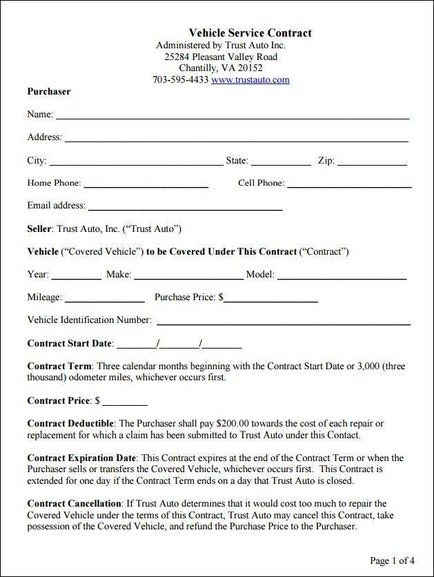 Sample Auto Service Contract