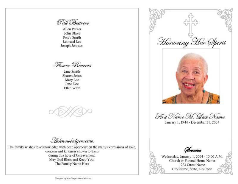 Funeral Program Template   4 Page Grey Ornate Cross