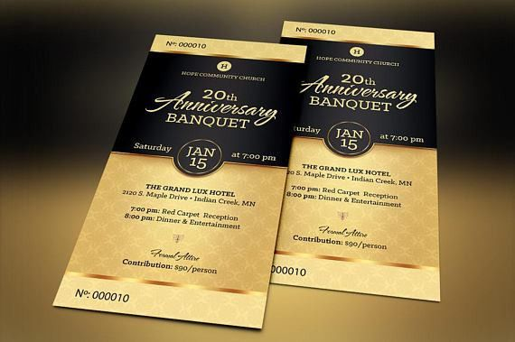 Black Church Anniversary Banquet Ticket Publisher Template