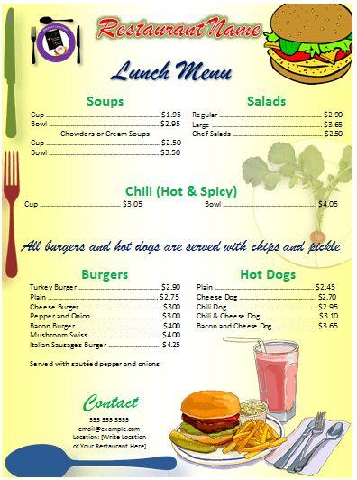 Lunch Menu Template | Card Templates