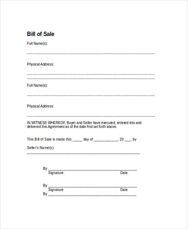 Sample Bill of Sale Form - 9+ Examples in PDF, WORD