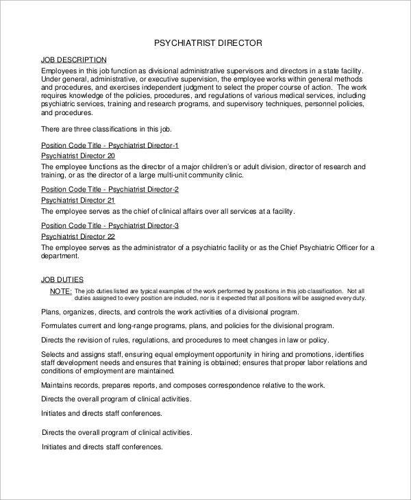 Medical Director Job Description. Hospital Medical Director Job ...