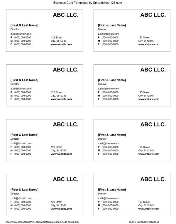 business cards templates word blank business card template ...