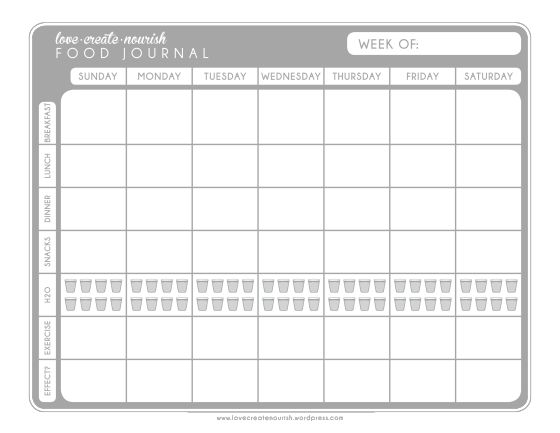 Free food journal.. LOVE! Want to try the idea of food journal to ...