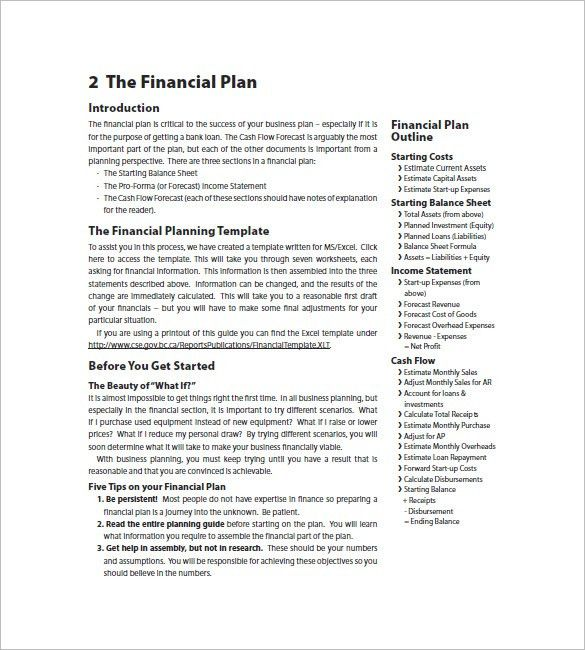 Financial Business Plan Template – 8+ Free Word, Excel, PDF Format ...
