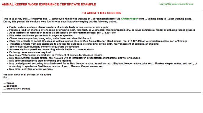 Animal Keeper Work Experience Certificate