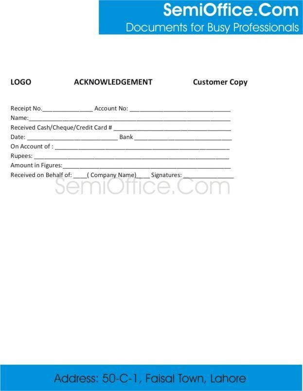 Sample Acknowledgement Receipt Template : Selimtd