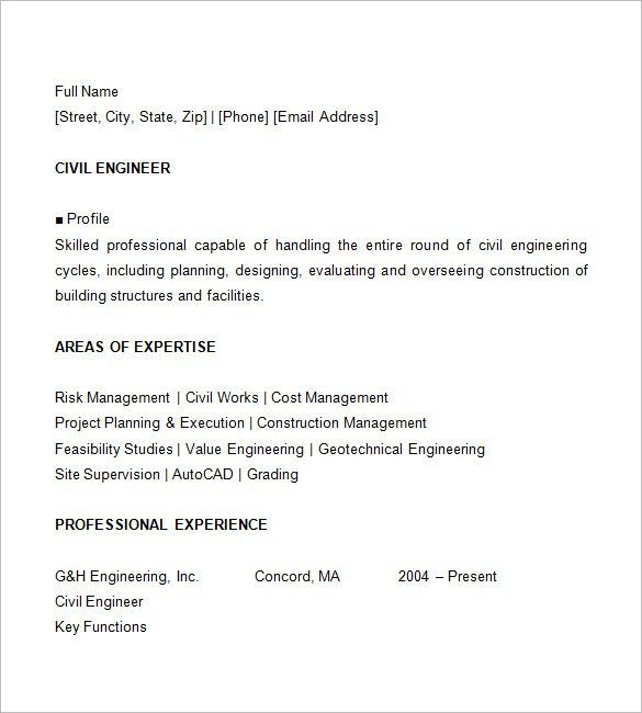 16+ Civil Engineer Resume Templates – Free Samples, PSD, Example ...