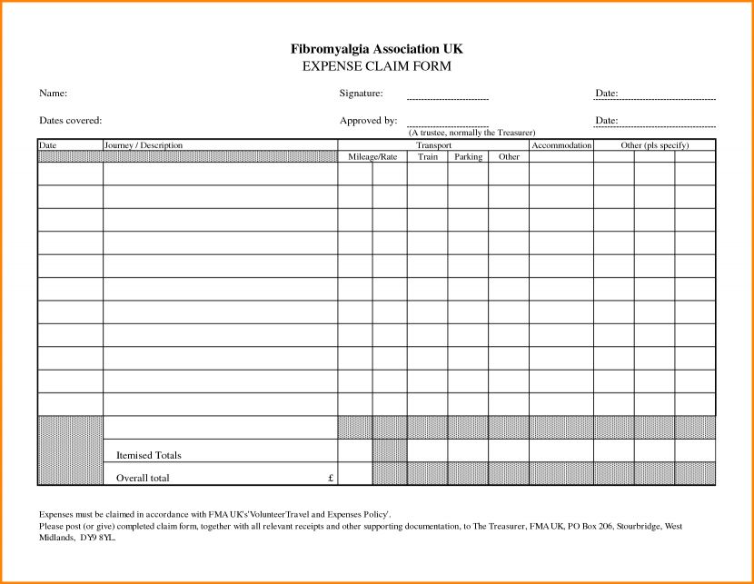 4 Expense Claim Form Templates Excel Xlts Sample Clain Template ...