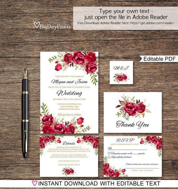 Best 25+ Red wedding invitations ideas on Pinterest | Red burgundy ...