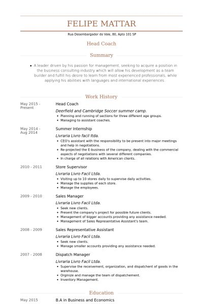 Head Coach Resume samples - VisualCV resume samples database