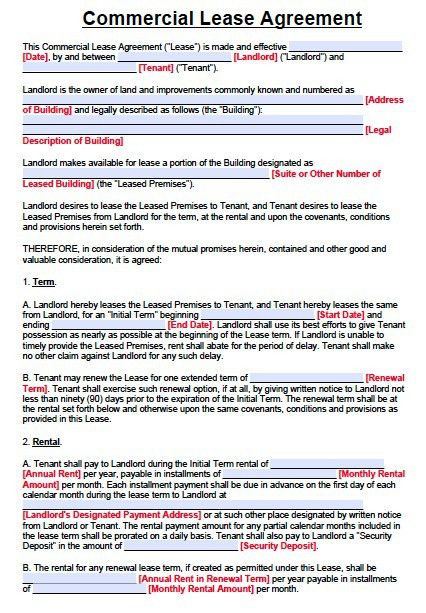 Free Texas Commercial Lease Agreement Form – PDF – Word | Template