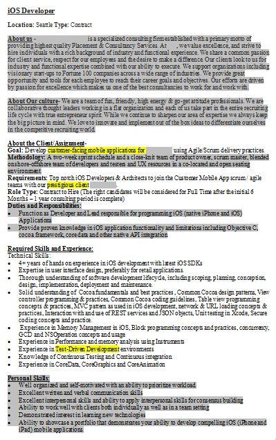 Job Description Review by Developers - iOS Mobile App Developer ...