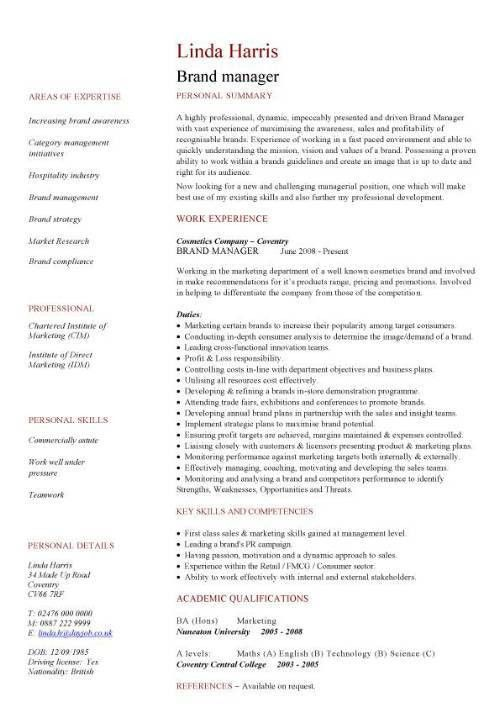 brand manager CV sample, Developing plans and executing projects ...