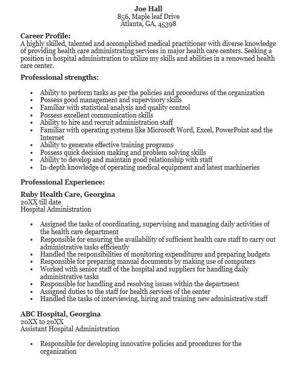 Health Services Administrator Sample Resume Health Services