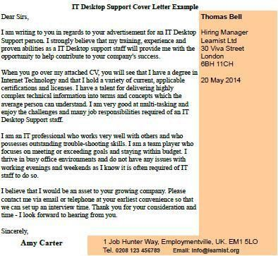 IT Desktop Support Cover Letter Example - forums.learnist.org