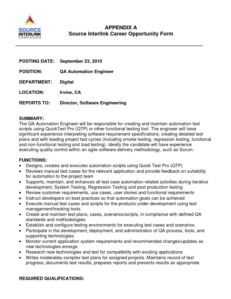 software qa cover letter software qa engineer cover letter