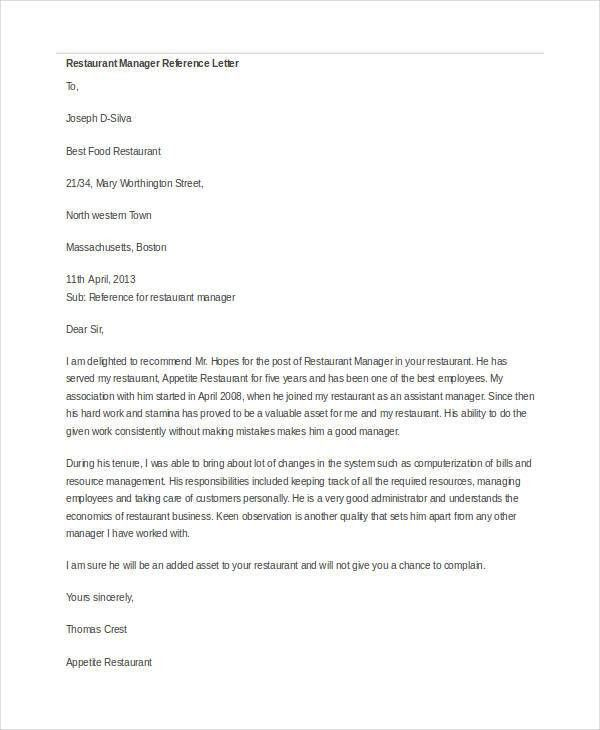 Manager Reference Letter Templates - 7+ Free Word Format Download ...
