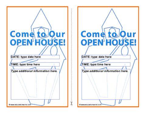 Education World: Open House Invitation Template