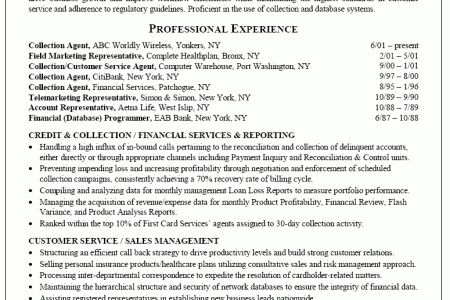 Collections Job Description For Resume - Reentrycorps