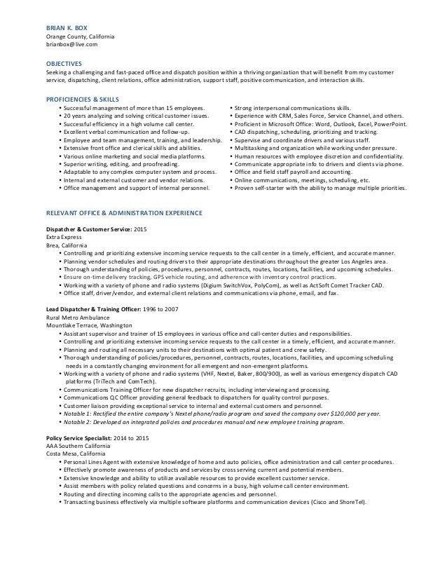 BB Dispatcher Resume (2015 NEW)