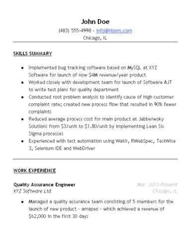 Quality Assurance Resume Sample • Hloom.com
