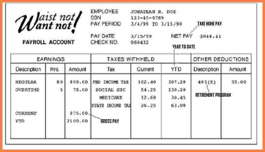 5+ free fake pay stub template | Securitas Paystub