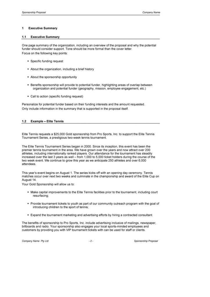 Sponsorship Proposal Document Loan Fax Cover Sheet Athlete ...